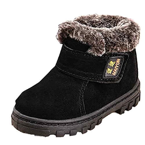 Ikevan Baby Girls Boys Child Leather Shoes Martin Boot Snow Boots Warm Thickened and Cashmere Shoes Winter 1-6 years old (23, Black)
