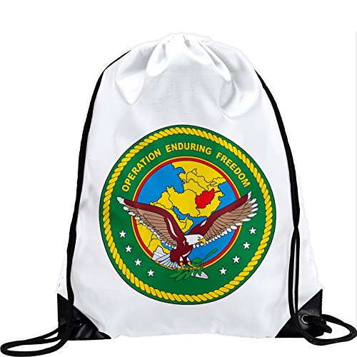 Large Drawstring Bag with US Central Command, Operation Enduring Freedom (OEF) - Long lasting vibrant image by ExpressItBest