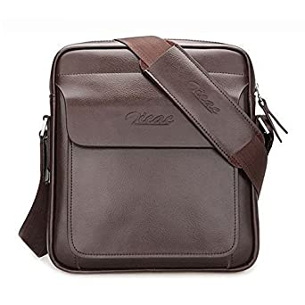 Amazon.com: Zicac Mens Genuine Leather Shoulder Messenger Bag ...