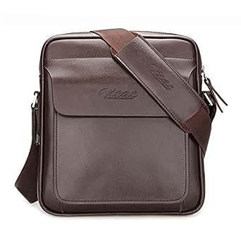 Amazon.com: Zicac Mens Genuine Leather Shoulder Bag ...