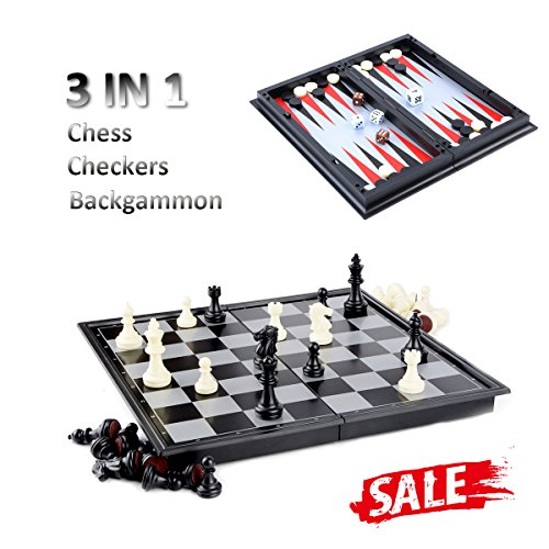 Chess/Checkers/Backgammon 3 in 1 Set, Hoshin Portable Folding Travel Magnetic Chess Board for Kids, 9.8 x 9.8 x 0.8 Inch by Hoshin