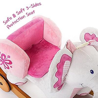 Labebe Child Rocking Horse Toy, Stuffed Animal Rocker Toy, 2 in 1 Rocker whit Wheel for Kid 6-36 Months, Child Rocking Toy/Wooden Rocking Horse/Rocker/Animal Ride on/Dragon Rocker