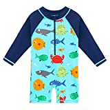 HUANQIUE Kids Swimsuit Boys UPF 50+ Sun Protection One Piece Navy 5-6 Years