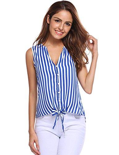 Zeagoo Women Sexy Deep V Neck Sleeveless Blouse Vertical Stripes Tank Top Blue S