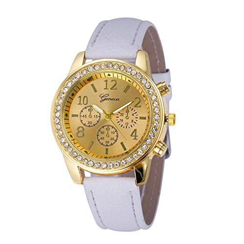 Creazy Faux Chronograph Quartz Classic Round Ladies Women Crystals Watch (White)