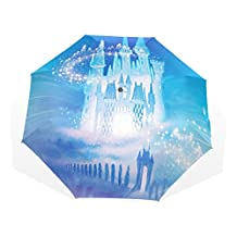 ABLINK Beautiful Ice Castle Abstract pattern painting Windproof UV Protection Big Straight Umbrella for Rain Outdoor With Carrying Bag