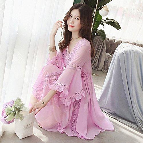 col Longue Blanche V M Trompette Princesse Longues Mousseline La lingue MiGMV Jupe de Pink Purple Robe Robes Manches wOYExU