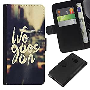 HTC One M7 , la tarjeta de Crédito Slots PU Funda de cuero Monedero caso cubierta de piel ( Life Goes On Vintage Vignette Taxi Cab)