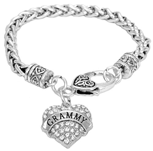 Grammy Bracelet Engraved Gift Jewelry Grammy Crystal Adorned Heart Shaped Pendant Lobster Claw Bracelet Gift Mom Grandma Colorless
