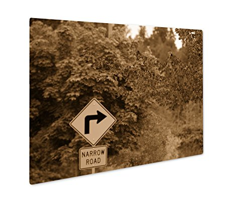 Ashley Giclee Red Foliage And Yellow Road Signs, Wall Art Photo Print On Metal Panel, Sepia, 16x20, Floating Frame, AG6536995 20 Piece Master Spindle