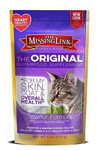The Missing Link - Original All Natural Superfood Cat Supplement - Balanced Omega 3 & 6 to support Healthy Skin Coat, Immunity and Overall Health - Feline Formula - 6 oz. (Cat Supplement)