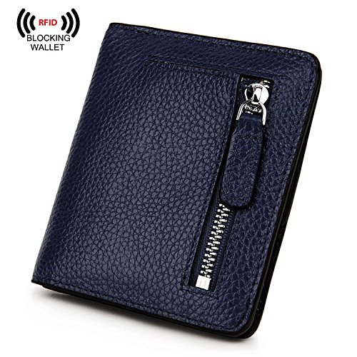 BIG SALE-AINIMOER Women's RFID Blocking Leather Small Compact Bifold Pocket Wallet Ladies Mini Purse with id Window (Navy Blue)