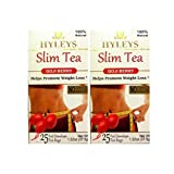 Hyleys Slim Tea Goji Berry 100% Natural, 25 Tea Bags (Pack of 2)