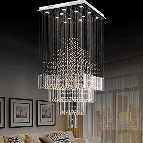 Moooni Modern Crystal Chandelier Lighting Raindrop Square Ceiling Light  Fixture For Staircase Porch Hallway L31.