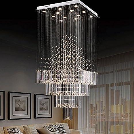 Moooni Modern Crystal Chandelier Lighting Raindrop Square Ceiling ...