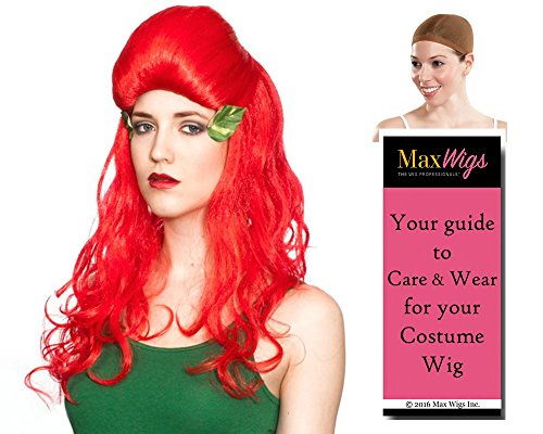 [Poison Ivy Beehive Color Red - Enigma Wigs Women's Batman Villain Classic Thurman Bundle with Wig Cap, MaxWigs Costume Wig Care Guide] (Red Poison Ivy Wig)