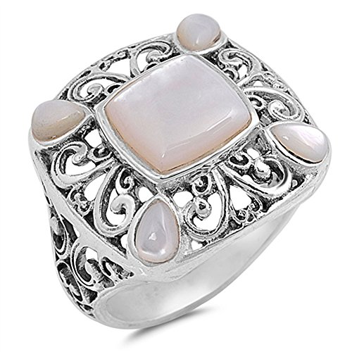 Simulated Mother of Pearl Filigree Cutout Wide Ring .925 Sterling Silver Band Size 7