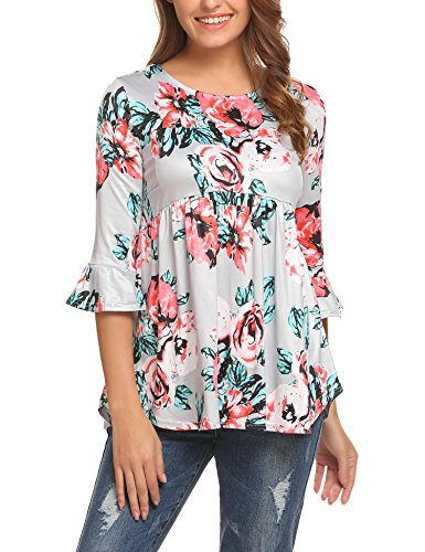 Zeagoo Women's Scoop Neck Floral Print Pleated Loose Casual Bell Sleeve Blouse Top Grey/M