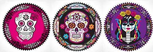 (Day of the Dead Sugar Skull Halloween Cupcake Liners 3 Patterns 96 Wrappers Made in the)