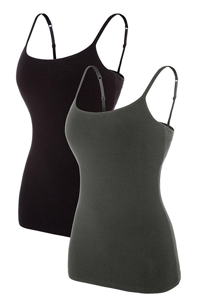 ATTRACO Slim fit Camis for Womens Shelf Bra Tank Shirt 2 Packs Grey Black Large