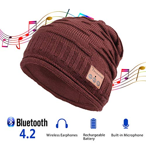 Pococina Upgraded 4.2 Bluetooth Beanie Music Hat Winter Knit Hat Cap Wireless Headphone Musical Speaker Beanie Hat as Christmas Birthday Gifts for Men Women Teen Girls Boys, Built-in Mic -012 Wine Red