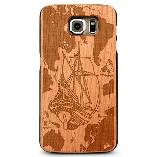 JewelryVolt Wooden Phone Case for Galaxy S8 Cherry Wood Laser Engraved Summer Nautical Explorer Ship World Map