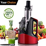 Slow Masticating Juicer Extractor, Cold Press Juicer Machine with Brush to Clean Conveniently High Nutrient Fruit and Vegetable Juice (Red) Review