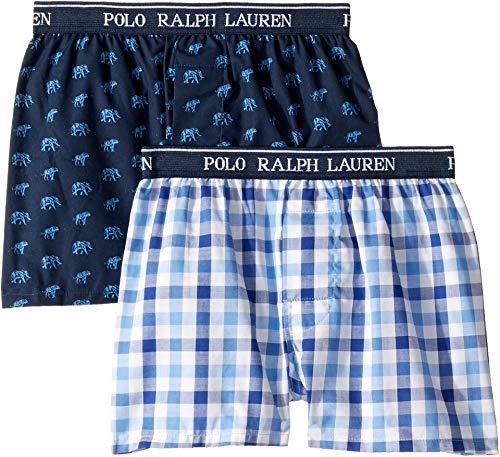 Polo Ralph Lauren Kids Boy's 2-Pack Woven Boxers (Little Kids/Big Kids) Elephants/Milton Plaid Large ()