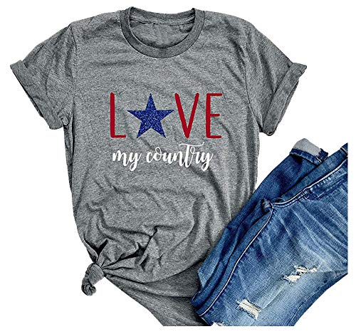 Love My Country Shirt Women Patriotic Top Crew Neck 4th of July American Graphic Tees Size L (Gray)