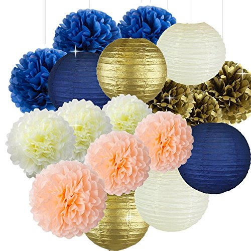 Sorive Bridal Shower Decorations Navy Peach Gold Birthday Decorations Tissue Paper Pom Pom Paper Lanterns for Wedding/Navy Peach Party Decorations/Bachelorette Party Decorations -