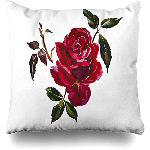 Throw Pillow Covers Garden Watercolor White Dark Red Rose Head Leaves Branch Single Nature Green Stem Flower Minimal Decorative Cushion Cover Square 18 x 18 Inches Home Decor Pillow Cover