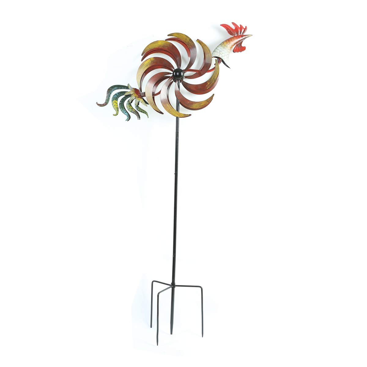 "Topadorn Wind Spinner Twirler Sculpture Garden Stake Outdoor Metal Stick Art Ornament Flaming Rooster Figurine Decor for Patio Lawn Yard, 31"" W x 7"" D x 64"" H, Rooster"