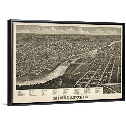 Vintage Birds Eye View Map of Minneapolis, Minnesota Black Floating Frame Canvas Art, 38