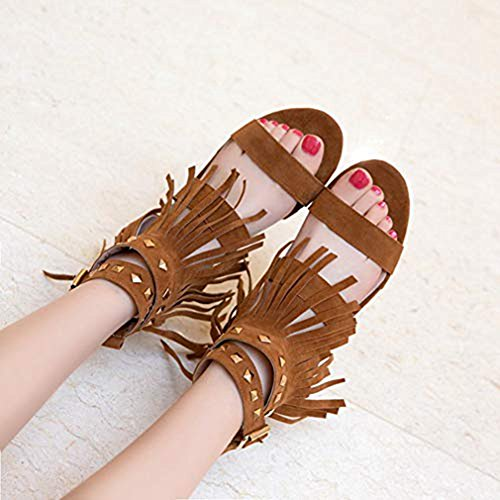 Roman Tassels Rivets Sandals Women's Strappy T JULY Open Fringe Studded Dress Brown Toe Flat Comfort Strap Slippers Buckle qBw8W6Wn