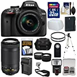 Nikon D3400 Digital SLR Camera & 18-55mm VR & 70-300mm DX AF-P Lenses 32GB Card + Case + Flash + Tripod + Tele/Wide Lens Kit