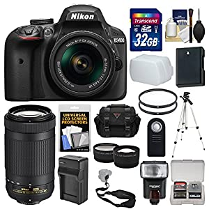 Nikon D3400 Digital SLR Camera & 18-55mm VR & 70-300mm DX AF-P Lenses with 32GB Card + Case + Flash + Tripod + Tele/Wide…