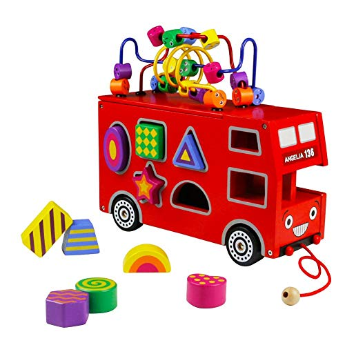 Double Decker Red Bus Colorful Wooden Mini Around Beads Game Shape Sorter Cognitive Toy Great Gift for Boy Girl Kids 3 Years and Up