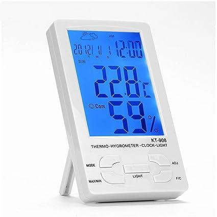Limeinimukete Termómetro multifunción de electrónica Interior higrómetro Luminoso para bebés, termómetro y Despertador
