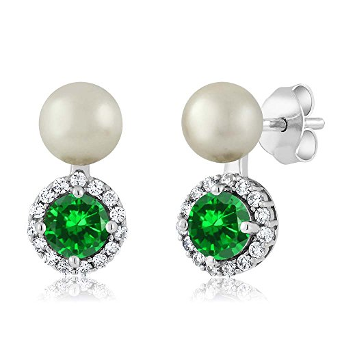 (Gem Stone King 1.98 Ct Green Simulated Emerald Cultured Freshwater Pearl 925 Sterling Silver Earrings)