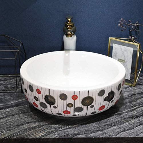 Yadianna 豪華な芸術磁器のバスルーム洗面化粧台バスルームのシンクボウルカウンターラウンドセラミック洗面台のバスルームのシンク