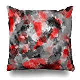 ONELZ Watercolor Black Gray And Red Square Decorative Throw Pillow Case, Fashion Style Zippered Cushion Pillow Cover (20X20 inch)