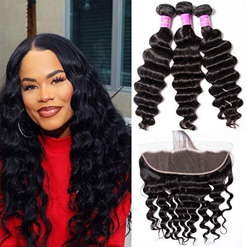 Star Show Brazilian Hair Bundles with Frontal Closure Loose Deep Wave Bundles with Closure Ear to Ear 100% Human Hair Extensions 14 16 18 with 14 Inch Frontal ()