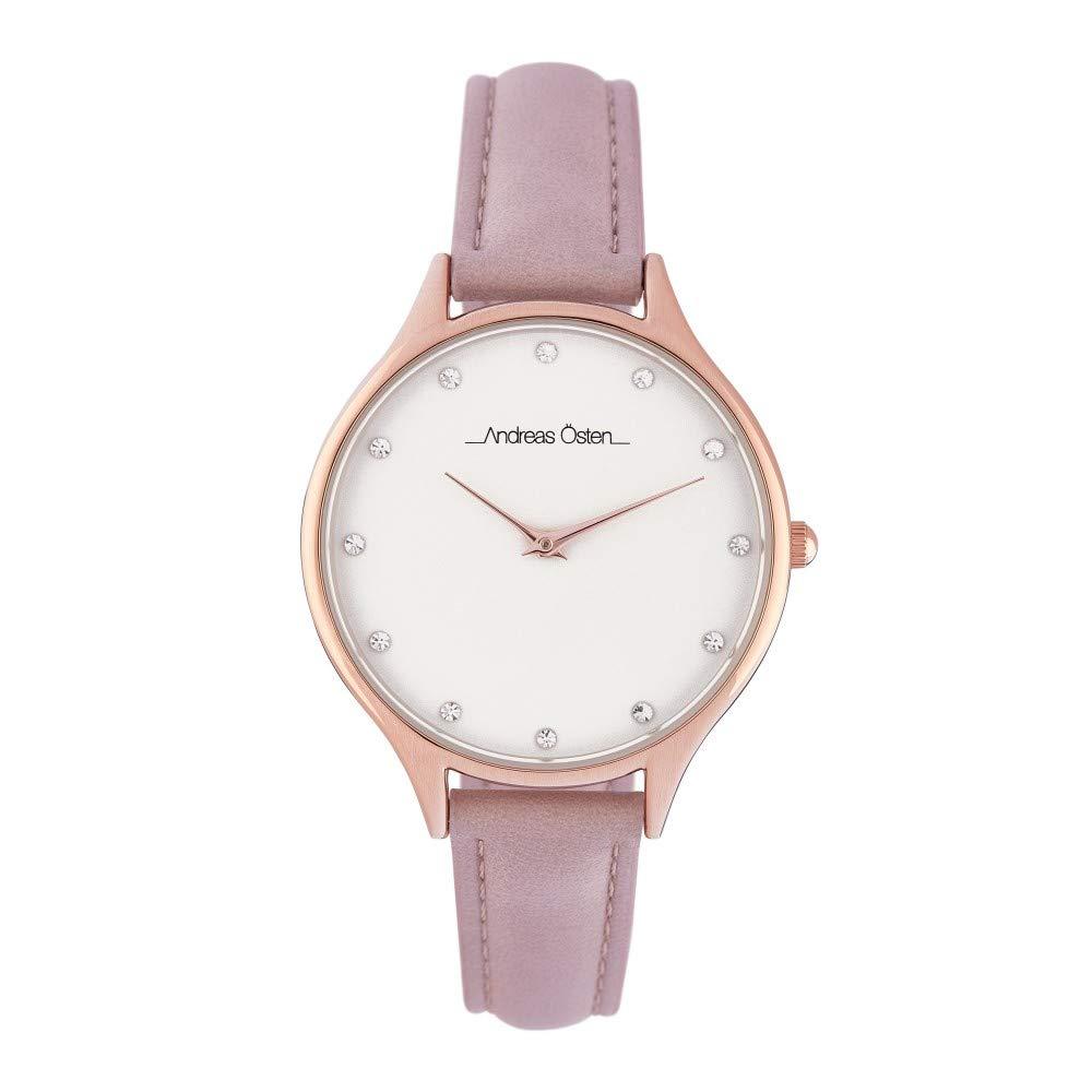 Montre Femme Andreas Osten à Quartz Cadran Blanc 36mm Et Bracelet Rose Gold En PU AOS18038