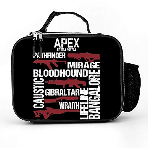 Uclipers Womans Lunch Tote Bag, Men & Kids Apex Battle Royale Glossary Lunch Box Washable With Extra Pocket Zippers Design ()