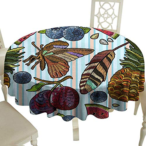 Fabric Dust-Proof Table Cover Embroidery summer pattern in blue stripes Butterflies watermelon segments feathers berries pineapple Embroidery summer seamless pattern for Kitchen Dinning Tabletop Deco