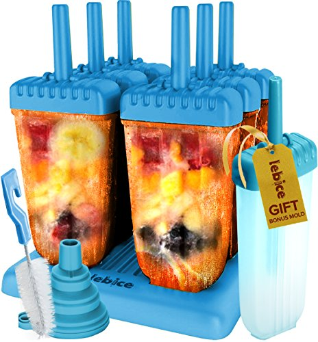 Popsicle Molds Set - BPA Free - 6 Ice Pop Makers + 1 Extra Mold + Silicone Funnel + Cleaning Brush + Recipes E-book - by Lebice -