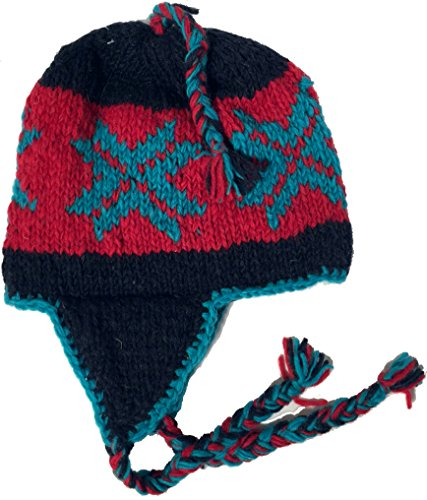 Wool Winter Chullo Beanie Fleece Lined Toque Cap Ear Flaps Sherpa Peruvian (Teal Star / Red & Navy)