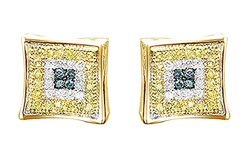 14K Yellow Gold Over Sterling Silver Round Cut Natural Diamond Hip Hop Stud Earrings (0.35 Cttw) by wishrocks
