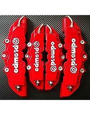 EEvER 4 Piezas 3D útil Coche Universal Freno de Disco Caliper Cubre Delantero y Trasero (Rojo)