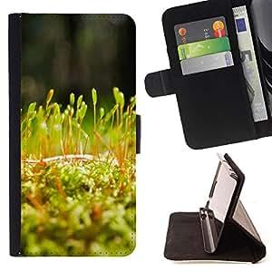 BullDog Case - FOR/Apple Iphone 5 / 5S / - / Plant Nature Forrest Flower 54 /- Monedero de cuero de la PU Llevar cubierta de la caja con el ID Credit Card Slots Flip funda de cuer